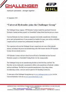 Universal Hydraulics joins the Challenger Group